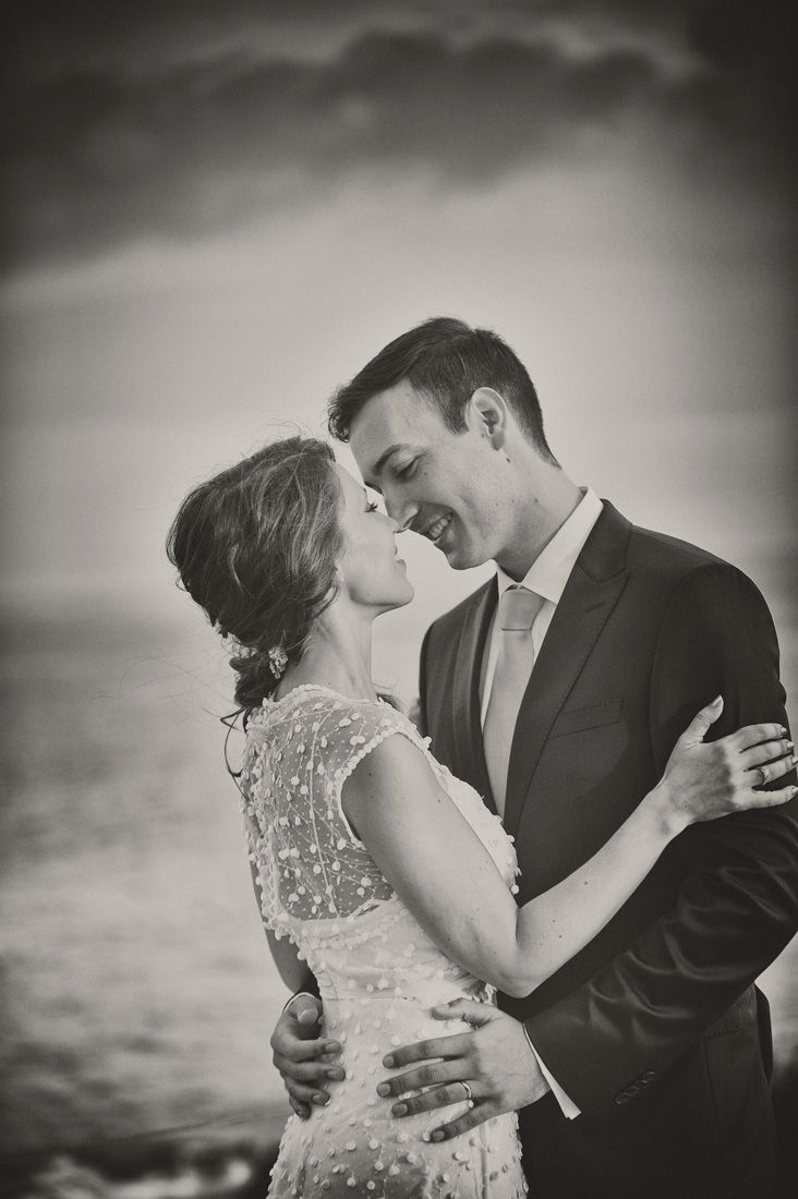Bride and Groom portrait Candy Moment Natural Posing fineart Black&white photography by the Sea Cascais Portugal Wedding Farol Design Hotel