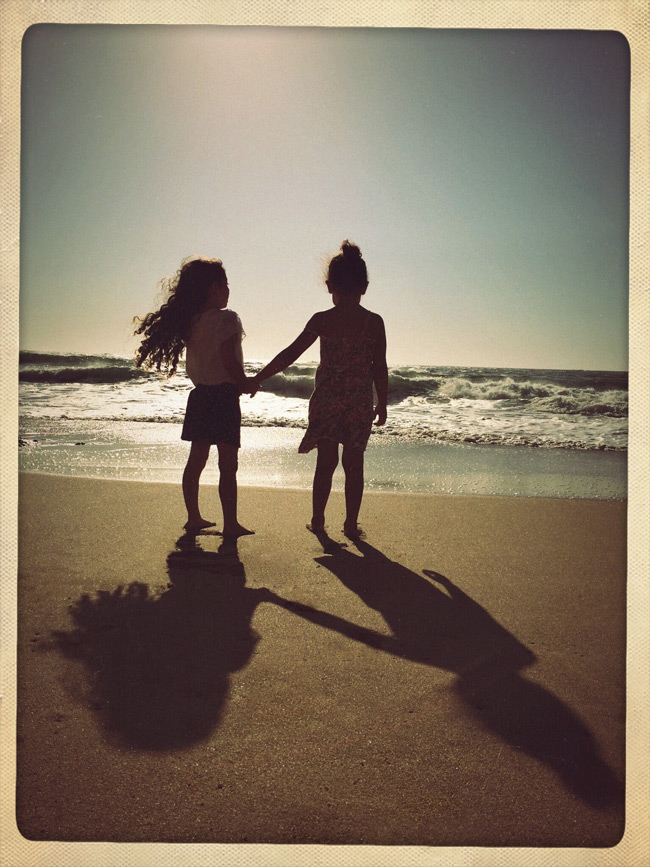 iPhone photography beach photo shoot sunset family moments two little girls