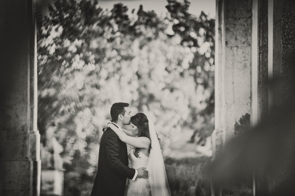 Obidos Portugal wedding black and white bride and groom portrait