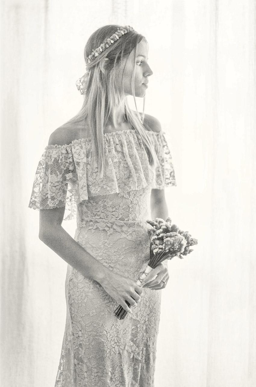 Foto de Sonho Inspiração Casamento fotos Noiva vestido romântico Bridal Dress Bohemian Chic Romantic Wedding inspiration
