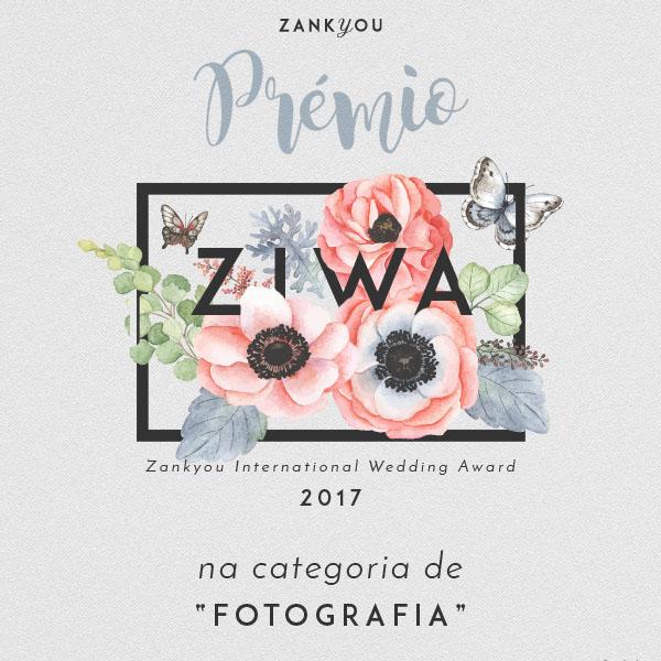 prémio ZIWA- Zankyou International Wedding Awards de 2017 de melhor fotógrafo de casamentos